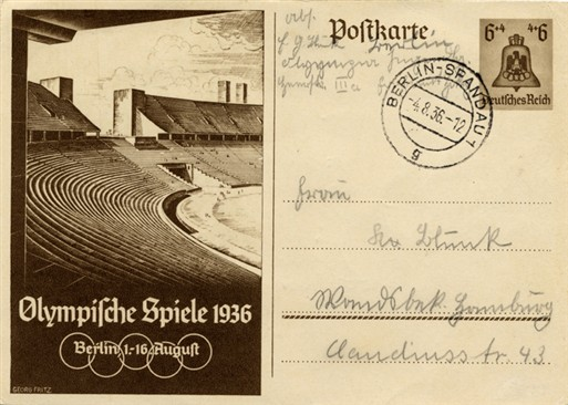 Photo:Postcard for the 1936 Berlin Olympics featuring the Olympic Stadium